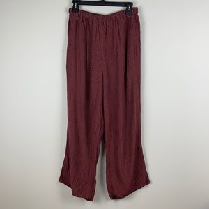 Flax Wide leg casual pants maroon size small